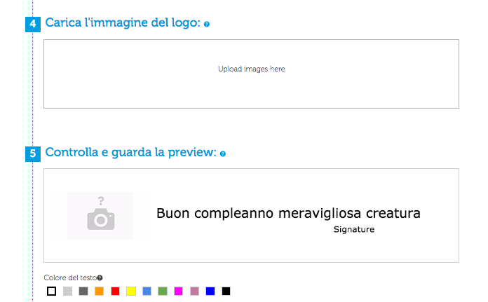 logo e preview carta da regalo personalizzata on line papername