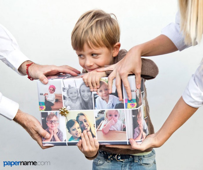 example of personalized gift wrap with photos and images papername.com