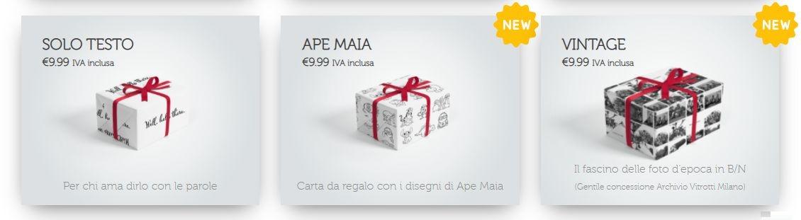 carta da regalo personalizzata